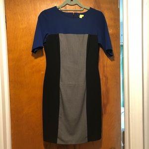 Blue/black/grey block dress
